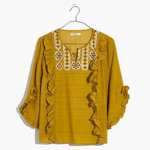 Madewell cassia ruffle blouse vintage chartreuse